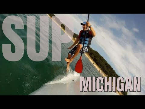 Paddle Boarding Lake Michigan - Warren Dunes  State Park, MI GoPro and time lapse