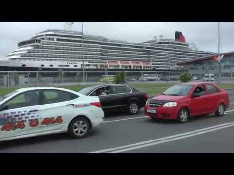 Driving on SPB Tour Bus from Cruise Ship Terminal to Saint Petersburg, Russia
