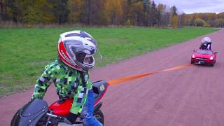 Камиль на Мини Байк! Mini BIKE VS Kids POWER WHEEL CAR Видео для детей for kids children