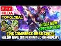 Epic Comeback Bass Craze, Hilda New Skin Ranked Gameplay  Top Global Hilda  Ace - Mobile Legends