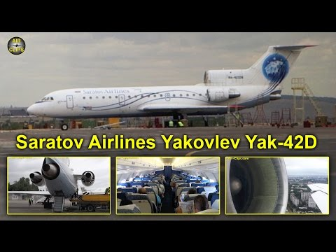 Saratov Airlines (Saravia) Yakovlev Yak-42 Saratov to Moscow DME [AirClips full flight series]