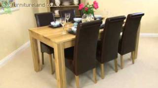 Oakdale Solid Oak 6ft X 3ft Dining Set With 6 Scroll Back Leather Chair From Oak Furniture Land