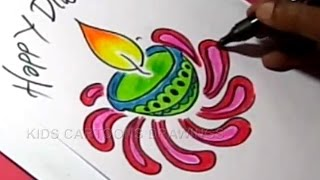 How to Draw Simple Diwali Greeting Step by Step for Childrens