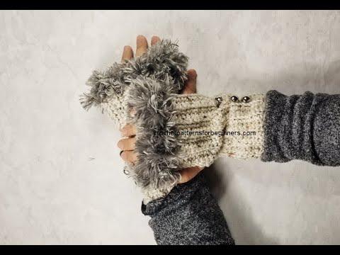 How To Crochet Fingerless Fur Trimmed Gloves Wrist Warmers FREE Crochet Pattern
