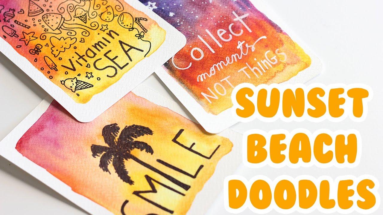 diy tuto cartes d 39 t sunset beach doodles youtube. Black Bedroom Furniture Sets. Home Design Ideas