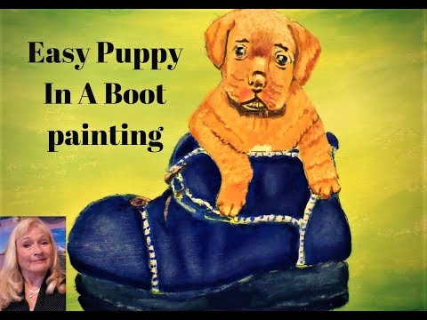 How to Paint a Puppy Dog in a Boot Part 3 with Acrylic Paint for beginners step by step