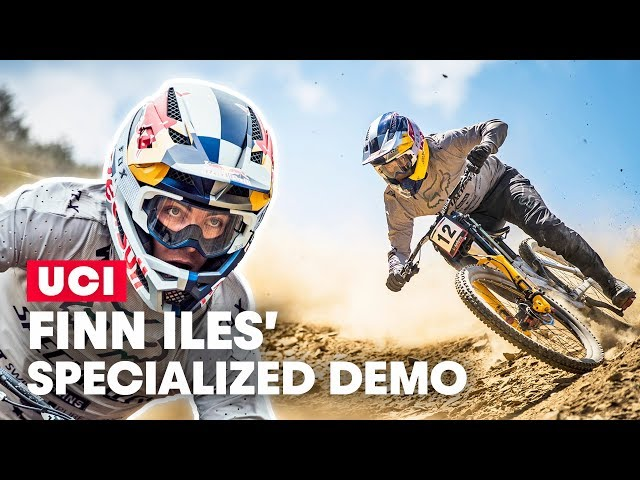 Finn Iles' Firey Specialized Demo | Bike Check at UCI DH World Cup 2019