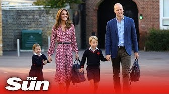 Princess Charlotte arrives for her first day at school with Prince William and Kate Middleton