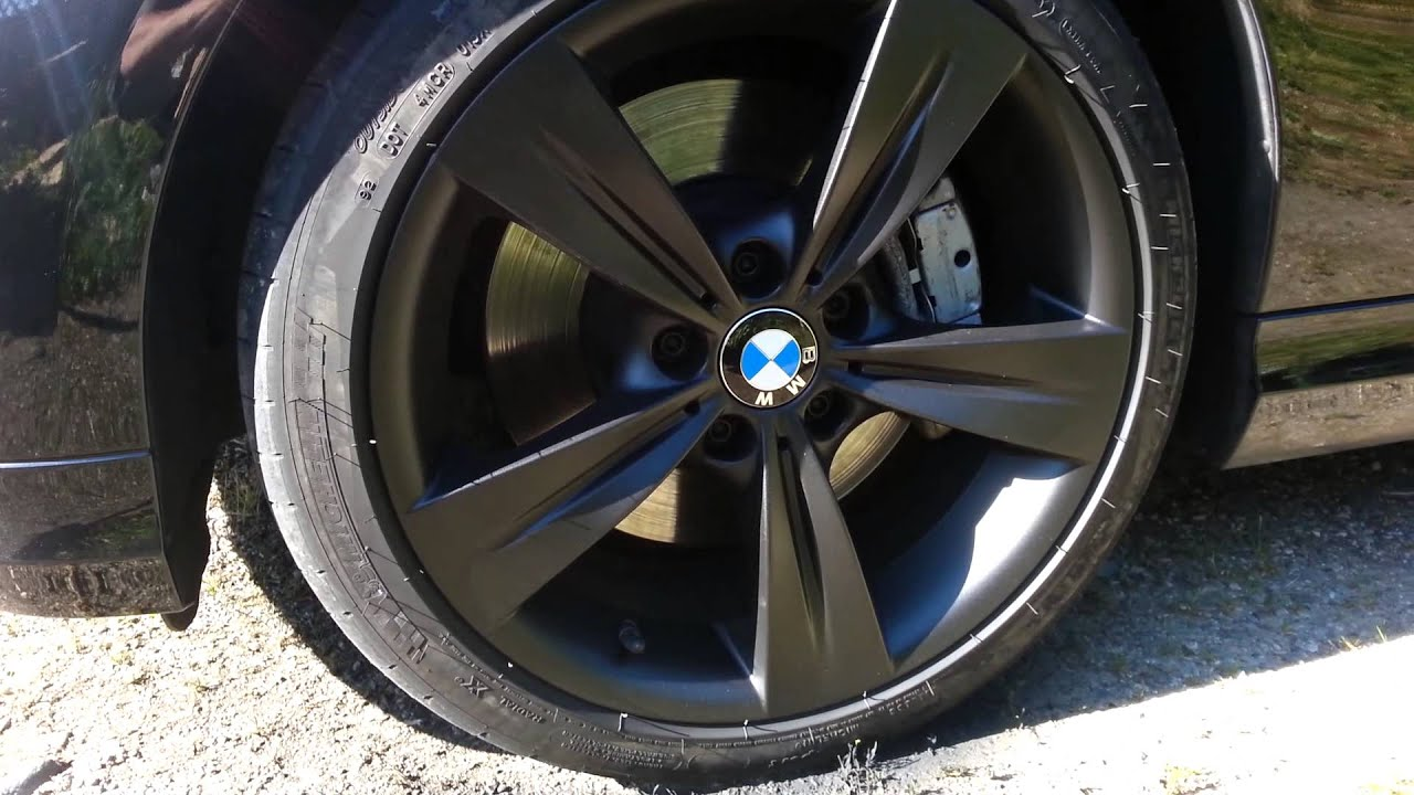 Satin Black Plastidipped Bmw 335 Wheels Youtube