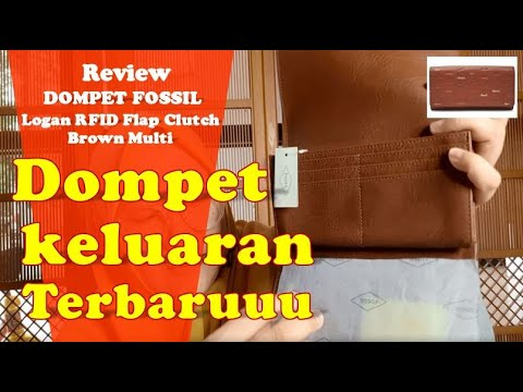 Review Dompet Fossil Logan RFID Flap Clutch Brown Multi
