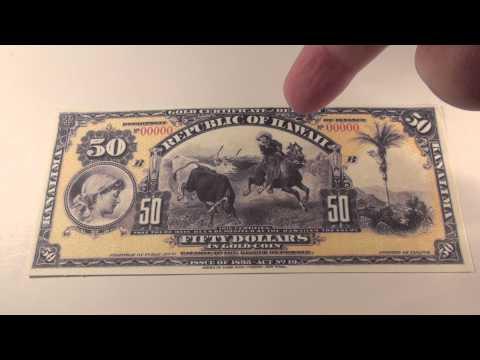 1895 $50 Republic of Hawaii Gold Certificate Note