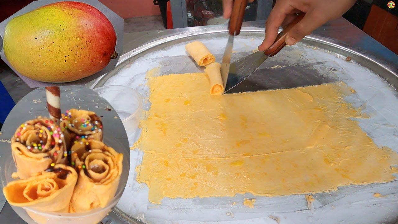 Man Famous ICE CREAM Wala  Mango ice cream rolls Street Food  Energy Ice Cream Roll Mango  Bd Food