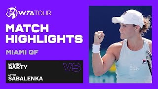 Ashleigh Barty vs. Aryna Sabalenka | 2021 Miami Open Quarterfinals | WTA Match Highlights