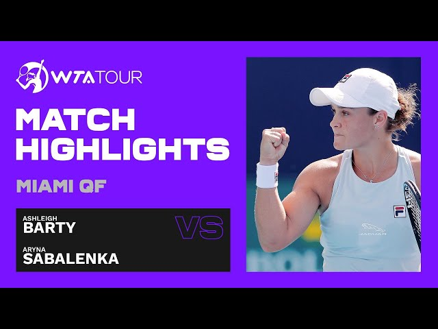 Ashleigh Barty vs. Aryna Sabalenka | 2021 Miami Open Quarterfinals | WTA Match Highlights