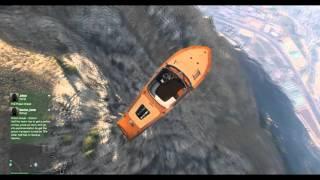 GTA V online pc HD 1080p  bike stunts boat ride from mountin