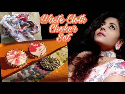 waste-fabric-choker-set-|-matching-accessories-for-dress-|-no-sew-|-diy