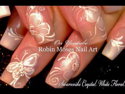 White Flower Nails | DIY French Pink Wedding Nail Art Design Tutorial