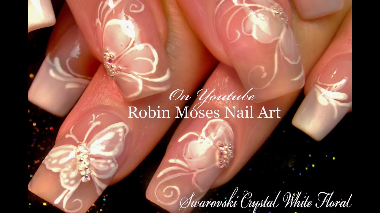 White flower nails diy french pink wedding nail art design white flower nails diy french pink wedding nail art design tutorial youtube prinsesfo Images