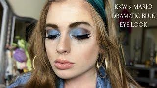 KKW x MARIO PALETTE   DRAMATIC BLUE EYESHADOW LOOK