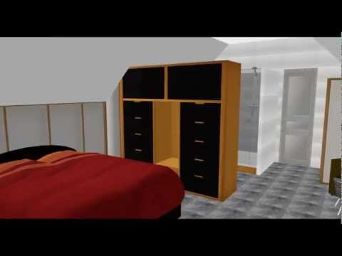 cr ation suite parentale salle de bain douche italienne projet visualisation chambre 3d youtube. Black Bedroom Furniture Sets. Home Design Ideas