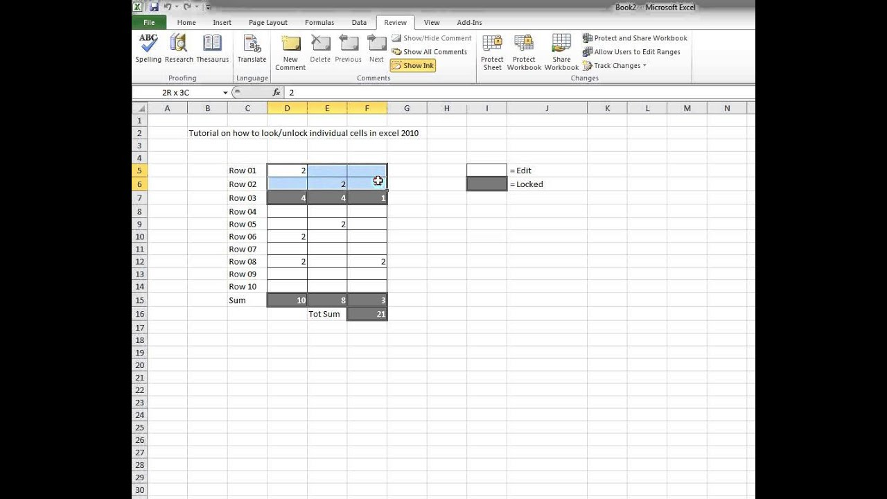 Howto lock and unlock individual cells in excel 2010 youtube howto lock and unlock individual cells in excel 2010 ccuart Choice Image
