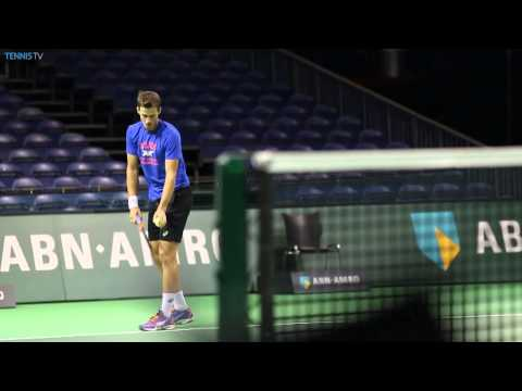 Andy Murray and Vasek Pospisil prepare for live action today at ATP Rotterdam