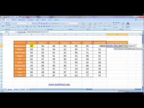 Index And Match -10 - With Min Formula Lookup The Lowest Value (English)