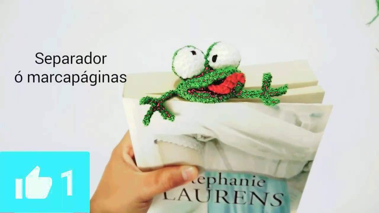 DIY Marcapáginas, separador de libros ranita amigurumi crochet - YouTube