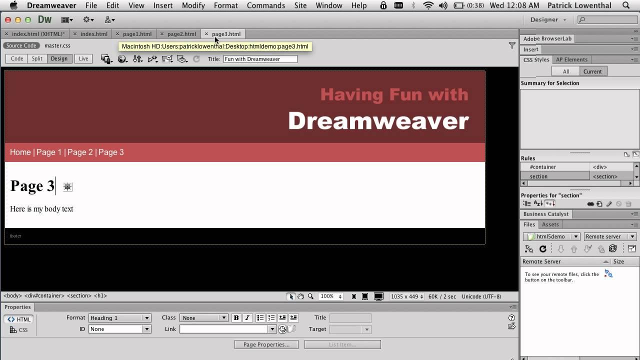 how to make website in dreamweaver cs6