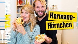 Hermann-Hörnchen // mit Himbeeren und weißer Schokolade // #yumtamtam