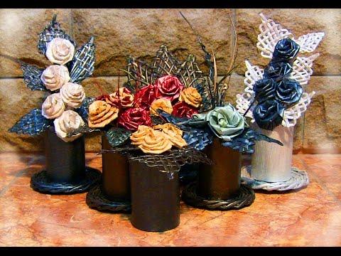 Цветы своими руками.  Идея композиции из бумаги для подарка.  Часть 1.
