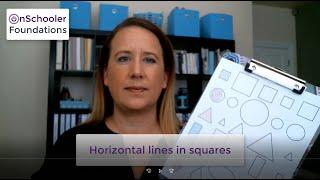 D1-Drawing horizontal lines in squares (Handwriting stroke #1 for preschool/kindergarten children)