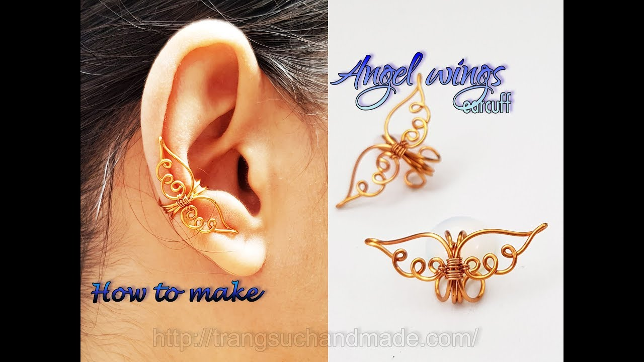 Angel wings earcuff - How to make simple jewelry for Christmas 434 ...
