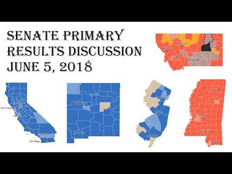 2018 Senate Predictions - June 5 Primary Results - California New Jersey Montana Mississippi