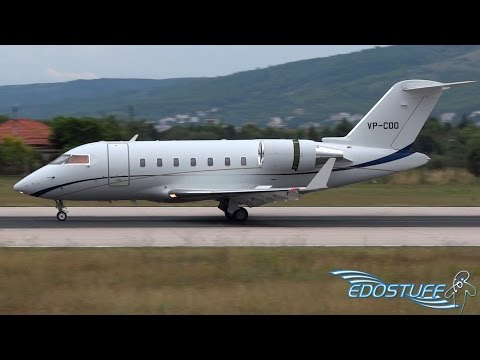 Bombardier Challenger 605 VP-COO  - Close-up Landing at Split Airport SPU/LDSP