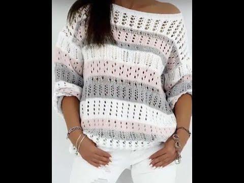 Связать модный пуловер спицами 2017