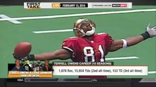 First Take - Skip Bayless & Terrell Owens get HEATED on his Hall of Fame snub!