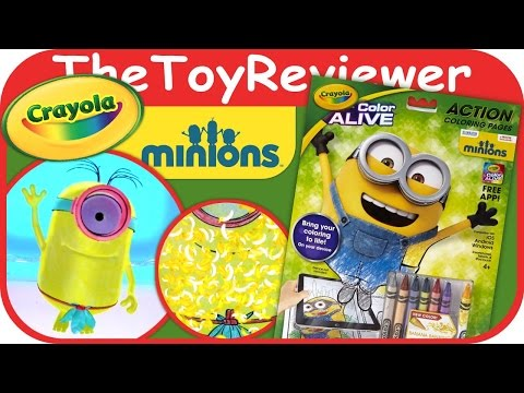 Minions Crayola Color Alive Action Coloring Pages Unboxing ...