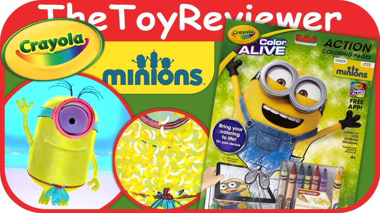 Minions Crayola Color Alive Action Coloring Pages Unboxing Toy ...