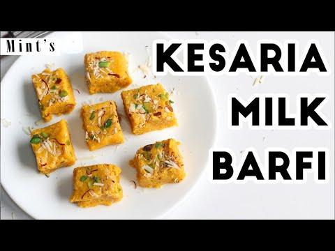 Kesaria Milk Barfi Recipe-Saffron Indian Cuisine--Indian Recipes in Hindi - Ep-175