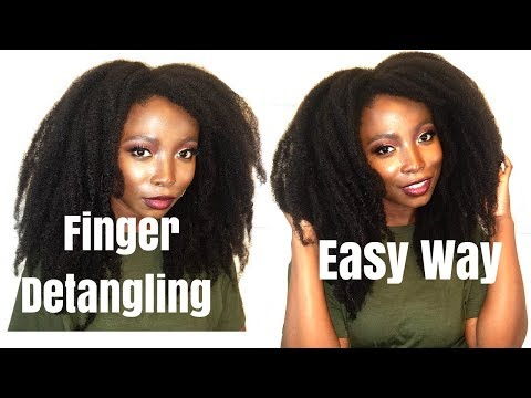 Natural Hair Tutorial |Finger Detangling Tips  | Night Time Routine | Afro Style | Length Retention