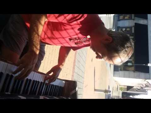 James Macdonald Art Guitars - Leaving Macon, spots a public piano...