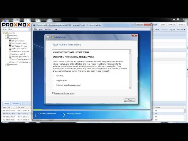 Install Windows 7 on Proxmox VE using virtio and SPICE