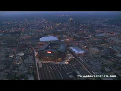 Aerial video featuring Lucas Oil Stadium