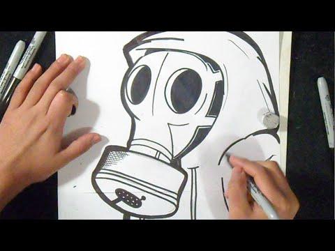 como desenhar máscara de gás 3 Grafite
