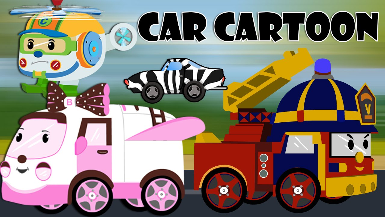 car cartoons for children police car cartoon fire trucks for