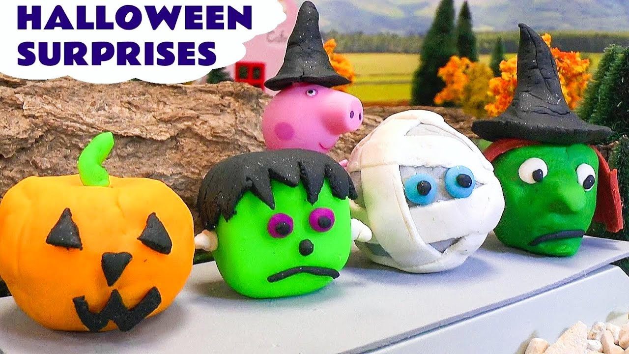 Toys For Halloween : Peppa pig halloween play doh surprise toys cars kids