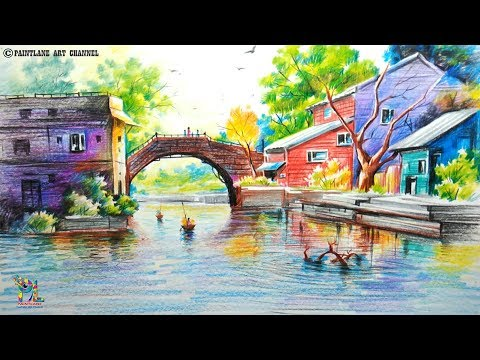 How To Draw A Very Easy And Simple Colorful Landscape   Pencil Shading