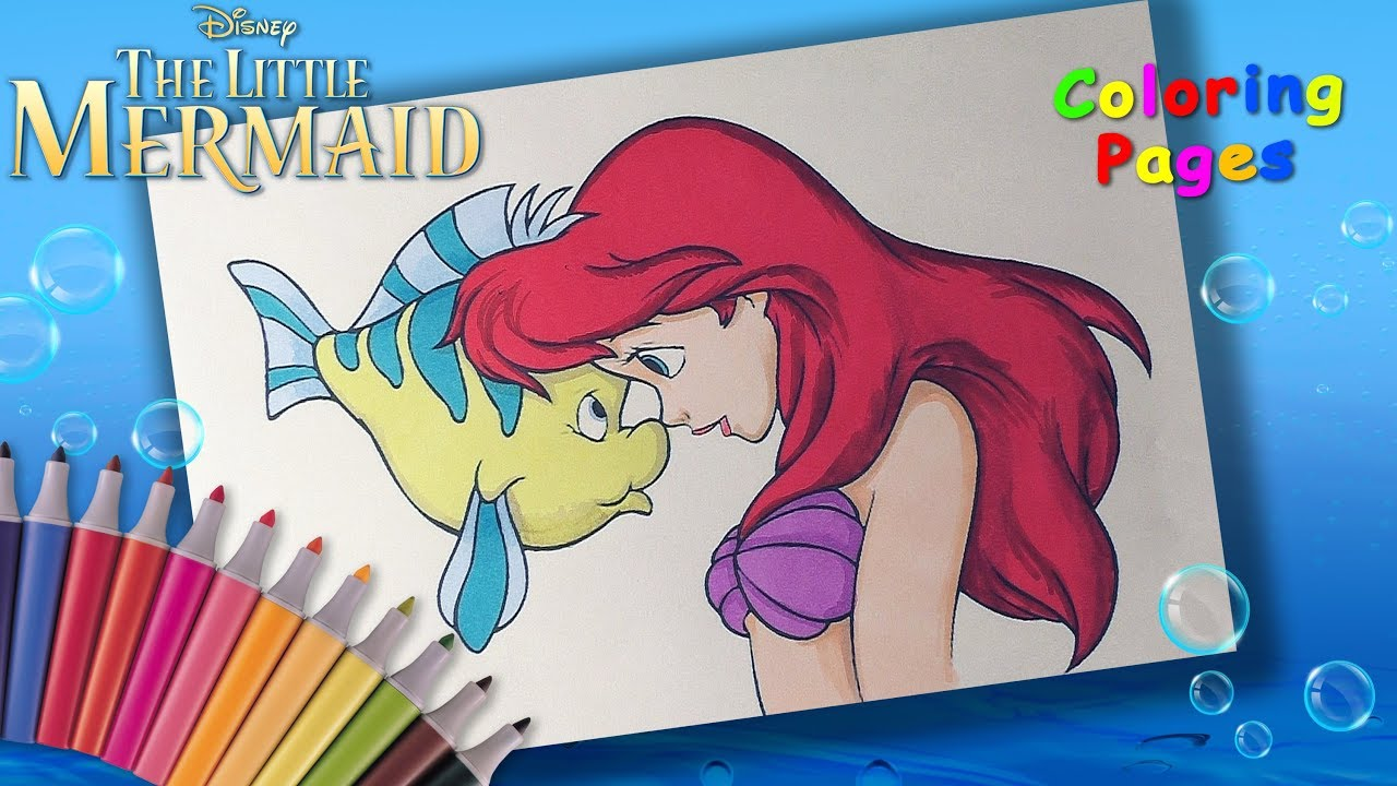 Disney Little Mermaid Coloring Book. How to color Princess Ariel and ...