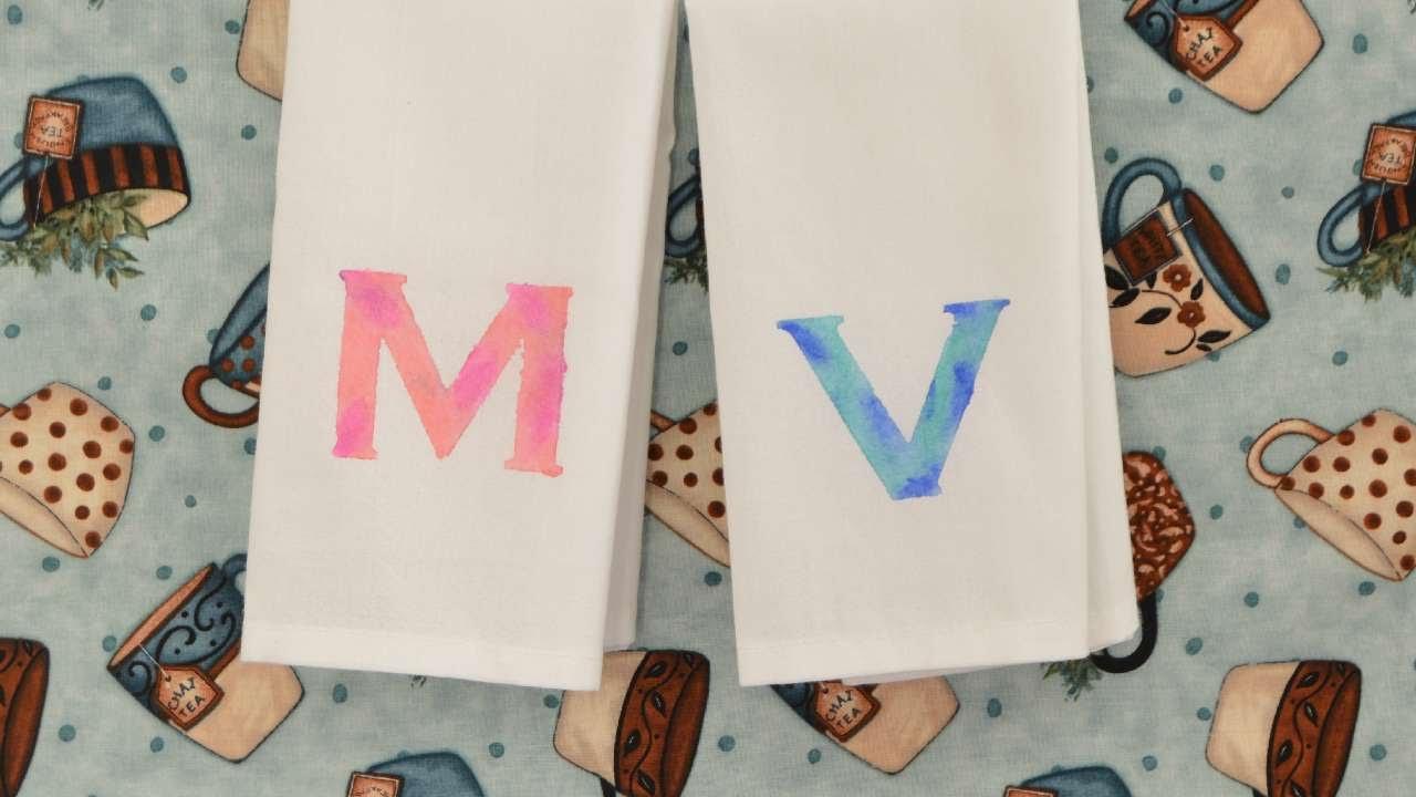 How To Create Watercolor Paint Monogram Tea Towels   DIY Crafts Tutorial    Guidecentral